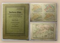Krause Sachsen-Atlas 1925 Geographie Geografie Landeskunde Darstellungen xy