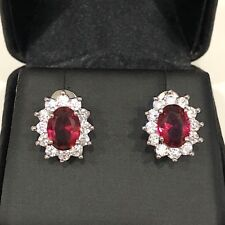 Carved 2 Ct Red Ruby Halo Stud Earrings Women Wedding Engagement Jewelry Gift