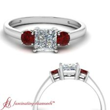 3 Stone Engagement Ring For Women With 3/4 Carat Princess Cut Diamond And Ruby