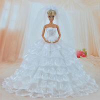 Doll Clothes Wedding Dress Party Gown With Veil Accessories For Barbie Dolls A