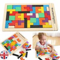 Wooden Tetris Building Block Puzzle Montessori Preschool Educational Toy Gift
