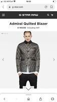 Mens Large Gstar raw Jacket Rrp £140 Bnwt Designer Admiral Quilted Blazer Coat