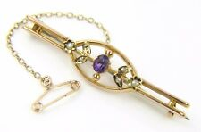 Ladies/womens, 9ct/9carat gold brooch set with amethysts and pearls