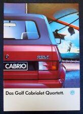 VOLKSWAGEN GOLF CABRIOLET SALES BROCHURE 1989 (GERMAN).