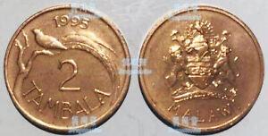 Malawi 2 tambala 1995 bird of paradise 20mm bronze coin UNC