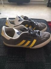 ADIDAS SAMBA SUPER TRAINERS SIZE 9 -  GREY SUEDE / YELLOW  STRIPES - ORIGINALS