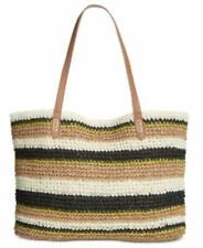 I.n.c. Tropical Straw Tote Summer Striped Handbag INC