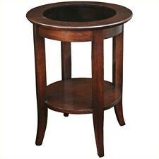 Leick Furniture Solid Wood Round Glass Top End Table in Chocolate Oak