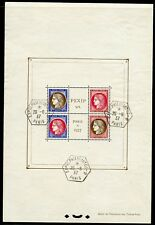 FRANCE PEXIP SOUVENIR SHEET SCOTT#329 USED 2  SHOW CANCELS  AFFECTING ALL STAMPS