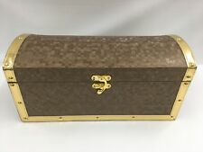 Treasure Chest Wood And Vinyl Gold Color Accents Brass Hardware B9