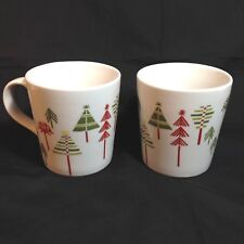 Crate & Barrel Christmas Mugs Lot Of 2 Julia Rothman Trees Holiday 16oz