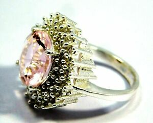 Pink Kunzite All Occasions Unique Design Silver Plated Ring SIZE 8