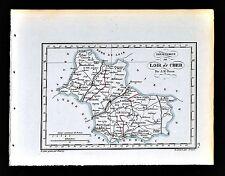 1841 Perrot France Map Departement de Loir et Cher Blois Vendome Chambord Selles