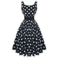 Hearts and Roses London Black White Polka Dot Vintage 50s Party Prom Dress