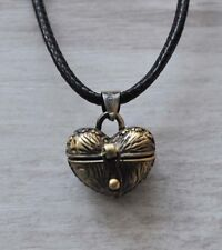 Vintage Bronze Plt Heart Wish Box Locket Pendant Necklace Love girls ladies Gift