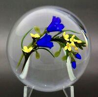 """CHRIS BUZZINI Blue Flowers Bouquet Art Glass Studio Paperweight,Apr 3.5""""Wx2.25""""H"""