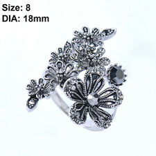 Women Jewelry Vintage Mosaic Crystal Zircon Antique Silver Plated Flower Rings 8