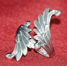 Angel Wing Ring Sterling Silver Wrap Around Feather Style Adjustable M-L NEW