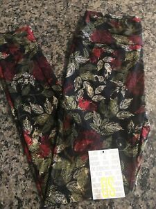 Lularoe OS Black With Red Flowers Leggings
