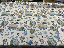 Blue York Jacobean Floral Floral Drapery Upholstery Fabric By The Yard