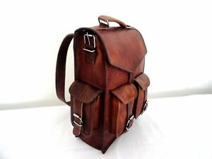 Men's Leather Backpack bag Satchel Briefcase Laptop Brown Vintage Shoulder Bag