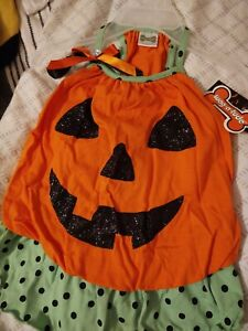Halloween pet costume Dog, Pumpkin Dress, really funny & cute, New with Tags