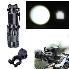 1000LM Zoomable Q5 Mini LED Flashlight Focus Torch Lamp Light w/ Bike Mount
