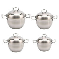 Korean Stainless Steel Stock Pot with Lid and Handles Nonstick Milk Pan