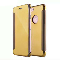 Fashion Clear View Mirror Flip Leather PC Cover Case For iPhone 8 5S 6S 7 Plus N