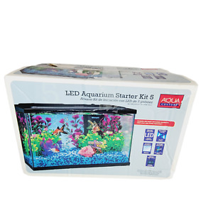 Aqua Culture 5 Gallon Aquarium Starter Kit with LED Light Lid & Filter Open Box