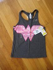 NEW Under Armour girls UA Wonder Woman gray pink logo TANK TOP shirt YLG youth L