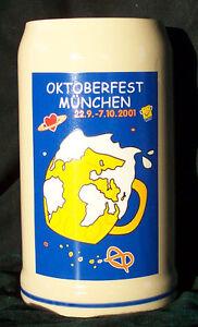 Set of 6 - 2001 Munich Oktoberfest Steins / Octoberfest - 1 Liter - NIB