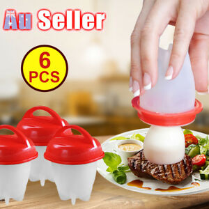 6 pcs Hard Boil Cooker Poacher Kitchen Tools Silicone Eggs Cup Steamer