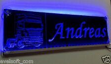 """Grand LED CAMION plaque """"Andreas """" ou votre nom en bleu"""