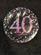 Paper plates Happy 40th birthday Pink and black H16 4z
