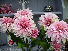Bunch of Artificial Silk Flowers DAHLIAS Pink 5 Stems,10 Flower Heads.