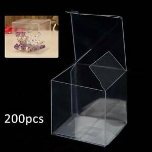 200 Wedding Favor Sweet Transparent PVC candy box Cube Cake Gift Candy Bags