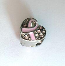 Breast Cancer Rhinestone Ribbon Charm for European Bracelet