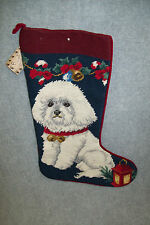 Bichon Frise Needlepoint Dog Christmas Stocking, Wool and Cotton.