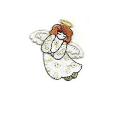 Angel - Christmas - Metallic Details - Embroidered Iron On Applique Patch