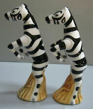 "Zebra large salt & pepper shakers S + P ceramic 5-1/2"" tall c1986"