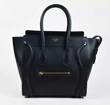 Celine Micro Luggage Tote Black Smooth Calfskin Leather Bag