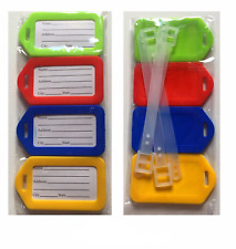 4 x LUGGAGE TAGS ID Plastic Labels Name/Address Suitcase Holiday Travel Set PACK