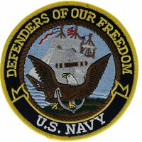 Navy Defenders Of Freedom 5 inch Round Embroidered Hat Shoulder Patch JF2D12G