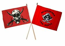 "12x18 12""x18"" Wholesale Combo Pirate Crimson & Red Surrender Booty Stick Flag"
