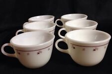 Vintage Pyrex Burgundy Rose Milk Glass Coffee Cups 9 Oz Set of 6