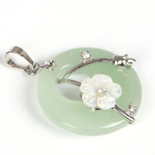 Woman Natural Green Agate Flower Carved Shell Gemstone Silver Necklace Pendants