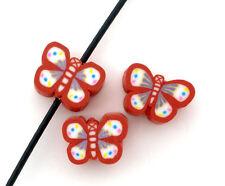 20 X Arcilla Roja Mariposa espaciador granos - 9.5 X 6.5 mm-el mismo día Poste LIBRE