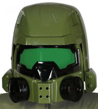 Sci Fi Space Soldier Chief Helmet Fancy Dress Full Overhead Green Plastic NEW