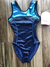 Alpha Factor Gymnast 00004000 Ics Leotard Navy & Ocean Blue Crystals Tank Child Medium New